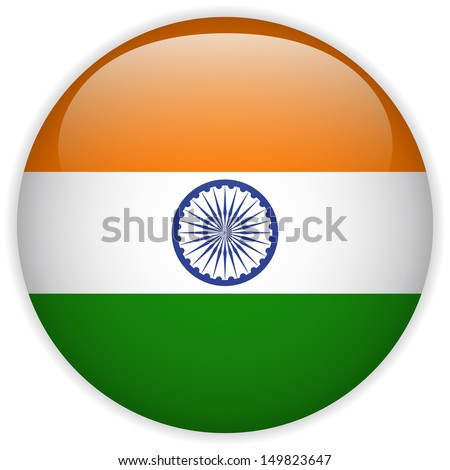 India Flag Glossy Button - stock photo