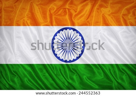 India flag pattern on the fabric texture ,vintage style - stock photo