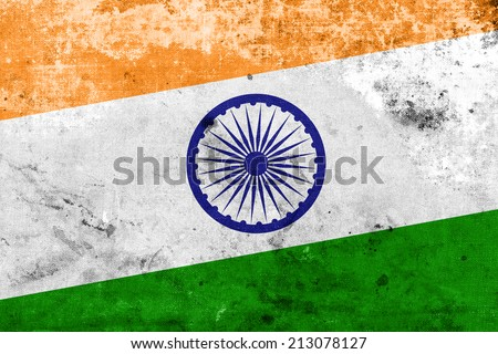 India Flag with a vintage and old look - stock photo