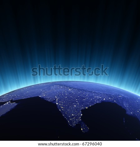India from space. Maps from NASA imagery - stock photo