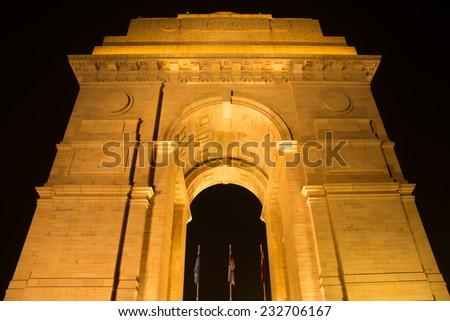 India gate, new delhi night view - stock photo