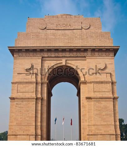 India Gate war memorial in New Delhi, India. - stock photo