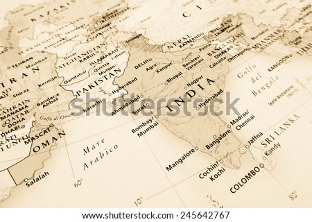 India geographical view (Geographical view altered on colors/perspective and focus on the edge. Names can be partial or incomplete) - stock photo