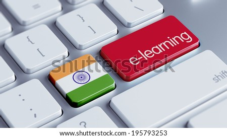 India High Resolution E-Learning Concept - stock photo