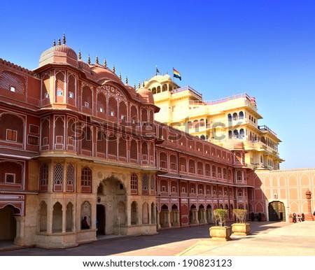 India. Jaipur. City Palace- Palace of the maharaja. - stock photo