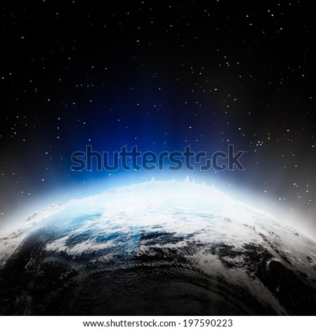 India lights at night. Elements of this image furnished by NASA - stock photo