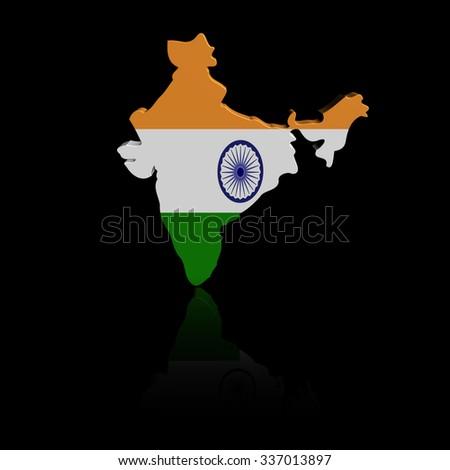 India map flag with reflection illustration - stock photo