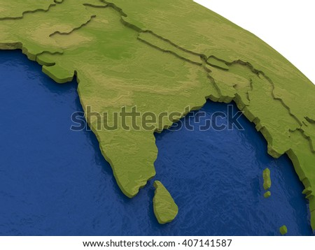 India on detailed model of planet Earth with visible country borders on green land and waves on the ocean waters. 3D Illustration. - stock photo