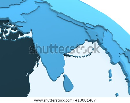 India on translucent model of planet Earth with visible continents blue shaded countries. 3D rendering. - stock photo