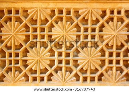 india ornate decoration background sandstone - stock photo