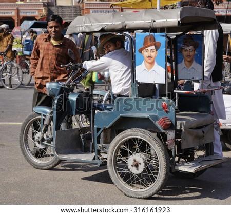 India, Rajasthan, Jaipur; 26 January 2007, indian Tuk Tuk driver - EDITORIAL - stock photo