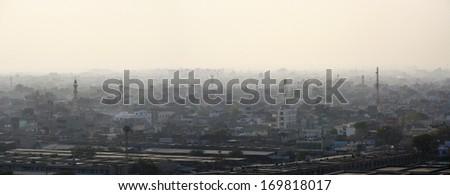 India, Rajasthan, Jaipur, panoramic view of the city from the Sun Temple (Surya Mandir) - stock photo