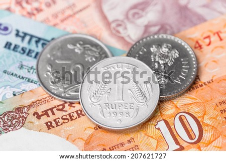 India rupee money coin and banknote - stock photo
