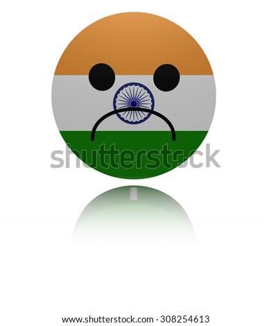 India sad icon with reflection illustration - stock photo