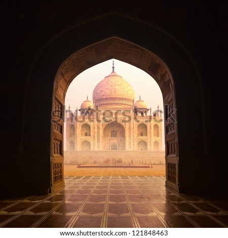 India. Taj Mahal indian palace. Islam architecture. Door to the mosque  - stock photo