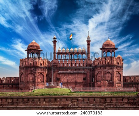 India travel tourism background - \Red Fort (Lal Qila) Delhi - World Heritage Site. Delhi, India - stock photo