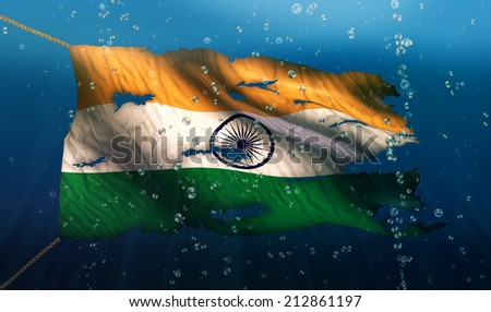 India Under Water Sea Flag National Torn Bubble 3D - stock photo