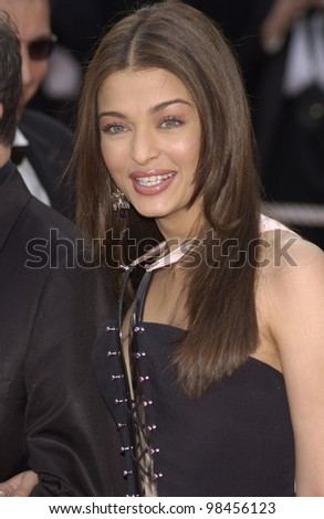 Indian actress & Cannes jury member AISHWARYA RAI at the screening of The Matrix Reloaded at the Cannes Film Festival. 15MAY2003 - stock photo
