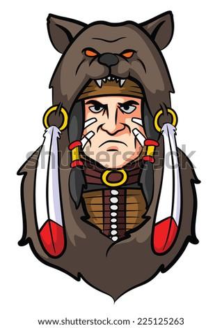 Indian Apache Mascot - stock photo