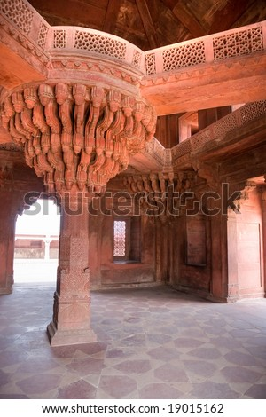 Indian Architecture in Fatehpur Sikri. Rajasthan, India. - stock photo