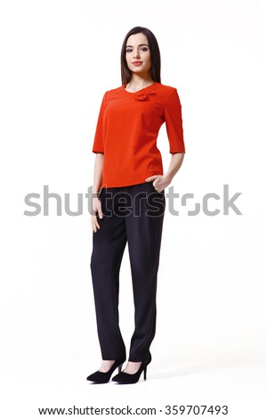 indian asian eastern brunette business executive woman with straight hair style in red t-shirt and black trousers high heels shoes full length body portrait standing isolated on white - stock photo