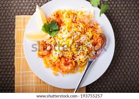 Indian Biryani with Shrimp - stock photo