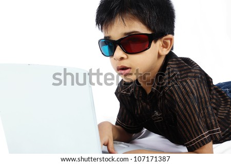 Indian Boy Watching a 3d Movie - stock photo