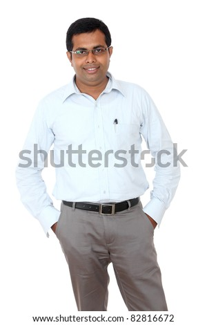 Indian business man isolated on white. - stock photo