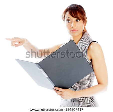 Indian business woman posing in studio isolated on a background - stock photo