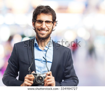 indian businessman taking a picture - stock photo