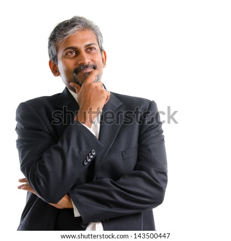 Indian businessman thinking. Attractive mature gray hair Indian business man thinking, isolated on white background. Handsome Asian India model. - stock photo