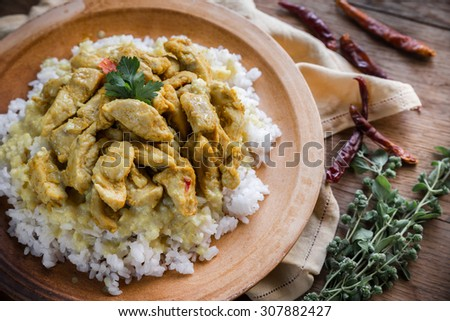 Indian chicken curry with white rice - stock photo