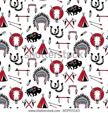 Indian chief headdress ,indian chief mascot, indian tribal headdress, indian headdress.  - stock photo