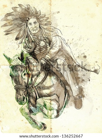 Indian Chief riding a horse and jumping over a hurdle. /// A hand drawn illustration. - stock photo