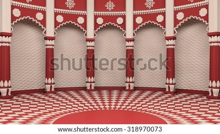 Indian Classic Columns Interior. 3d rendering - stock photo