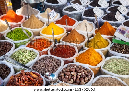 Indian colorful spices and tea at Anjuna flea market in Goa, India - stock photo