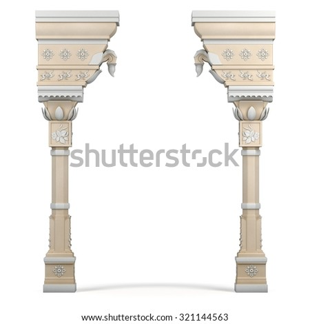 Indian Column Arc. 3d rendering. - stock photo