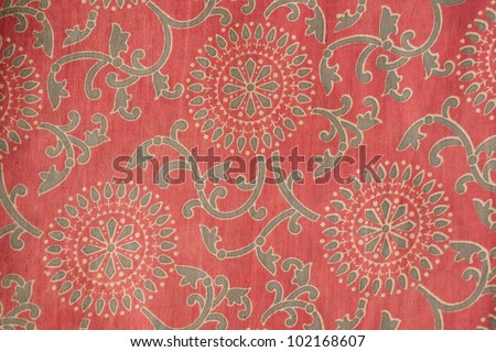 Indian cotton fabric with traditional design - stock photo