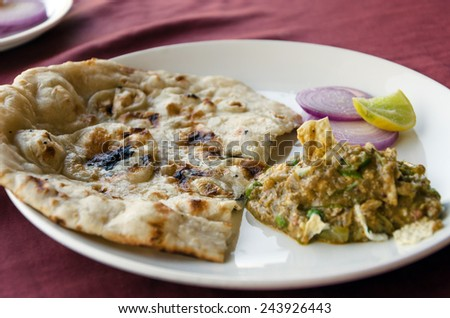 Indian cuisine in restaurant - stock photo