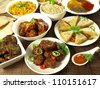 Indian cuisine: main courses, appetizers and spices - stock photo