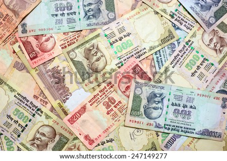 Indian currency background - stock photo