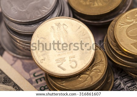Indian Currency Rupee Coins,closeup - stock photo