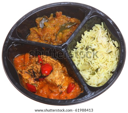 Indian curry microwavable meal - stock photo