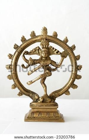 indian dancing shiva on white studio background - stock photo