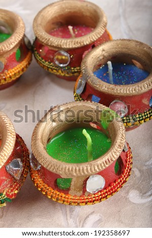 indian decorated candle pot, indian traditional festival - stock photo