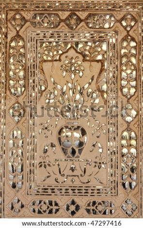 Indian decoration in Amber Fort - stock photo