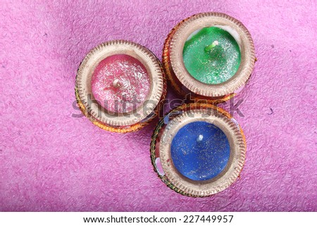 indian decorative candle pot from top, indian traditional festival - stock photo