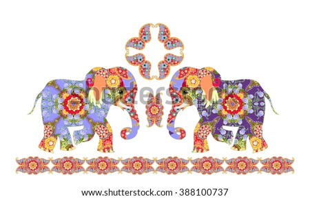 Indian decorative pattern with elephants and paisley.  - stock photo