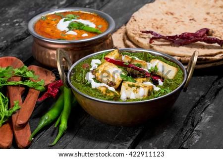 Indian Delicious Palak Paneer And Dal Tadka Food - stock photo