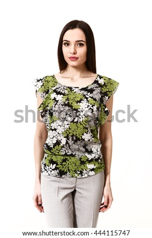 indian eastern brown hair business executive woman with straight hair style in khaki short sleeve summer blouse close up portrait isolated on white - stock photo